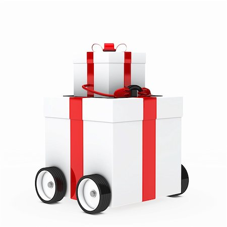 red white christmas gift box figure vehicle Stock Photo - Budget Royalty-Free & Subscription, Code: 400-06408124