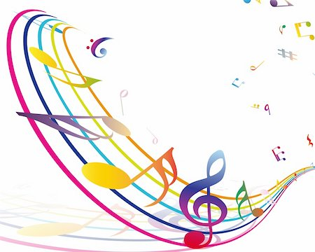 Multicolour  musical notes staff background. Vector illustration with transparency EPS10. Stock Photo - Budget Royalty-Free & Subscription, Code: 400-06408648