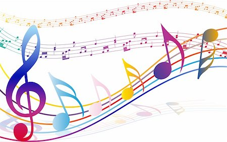 Multicolour  musical notes staff background. Vector illustration with transparency EPS10. Stock Photo - Budget Royalty-Free & Subscription, Code: 400-06408650
