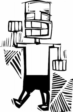 skinhead - Woodcut style man raising his right fist in a fist bump. Stock Photo - Budget Royalty-Free & Subscription, Code: 400-06408797