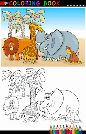 smiling chimpanzee - Coloring Book or Page Cartoon Illustration of Funny Wild and Safari Animals for Children Education Stock Photo - Budget Royalty-Free & Subscription, Code: 400-06408842