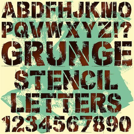 stencils - A Set of Grunge Stencil Letters Stock Photo - Budget Royalty-Free & Subscription, Code: 400-06408907