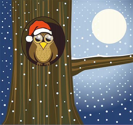 Christmas owl Stock Photo - Budget Royalty-Free & Subscription, Code: 400-06409181