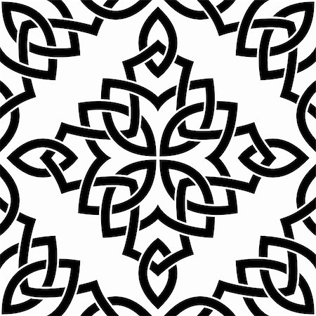 pzromashka (artist) - Black Celtic seamless intricate pattern on a white background Stock Photo - Budget Royalty-Free & Subscription, Code: 400-06409442