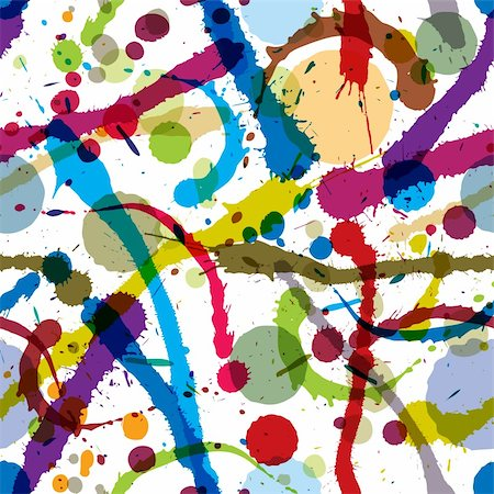 drop painting splash - Colorful ink splatters and drops seamless pattern, artistic vector background. Stock Photo - Budget Royalty-Free & Subscription, Code: 400-06409578