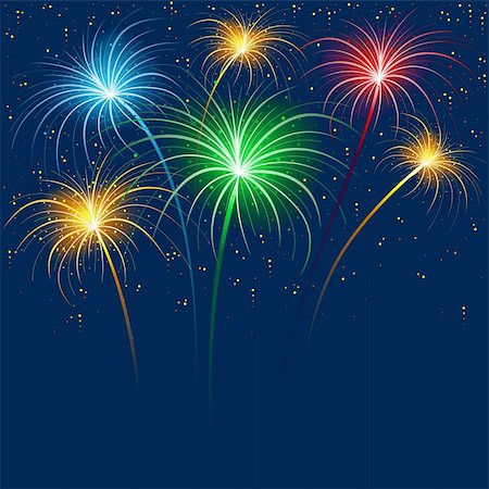 fireworks illustrations - Fireworks - Holiday Background Illustration, Vector Stock Photo - Budget Royalty-Free & Subscription, Code: 400-06409675