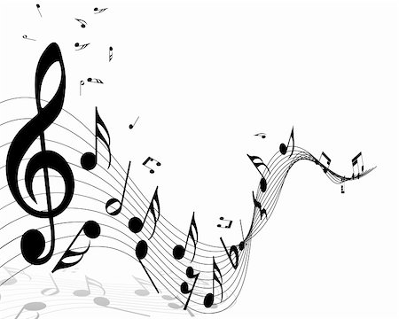 Musical notes staff background with lines. Vector illustration. Stock Photo - Budget Royalty-Free & Subscription, Code: 400-06409772