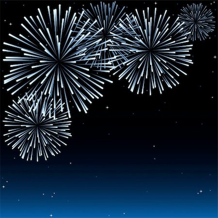 silhouette of firework - Fireworks - Holiday Background Illustration, Vector Stock Photo - Budget Royalty-Free & Subscription, Code: 400-06415156