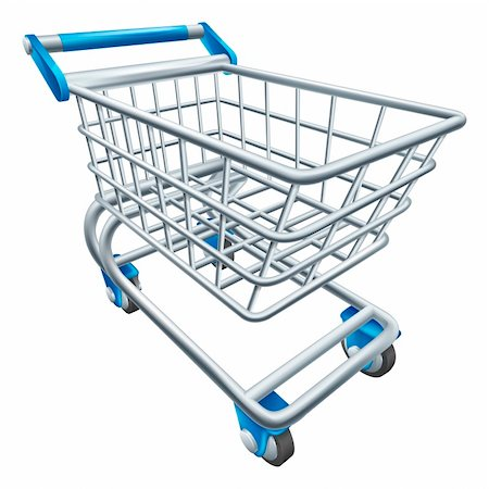 empty shopping cart - An illustration of a wire supermarket shopping cart trolley or basket Stock Photo - Budget Royalty-Free & Subscription, Code: 400-06415266