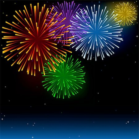 fireworks illustrations - Fireworks - Holiday Background Illustration, Vector Stock Photo - Budget Royalty-Free & Subscription, Code: 400-06415299