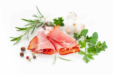 Traditional prosciutto with herbs and spicy Stock Photo - Budget Royalty-Free & Subscription, Code: 400-06416336