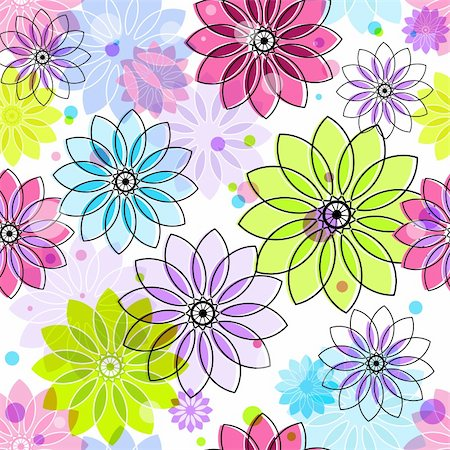 Seamless floral pattern with colorful vintage translucent flowers and balls (vector eps 10) Stock Photo - Budget Royalty-Free & Subscription, Code: 400-06416593