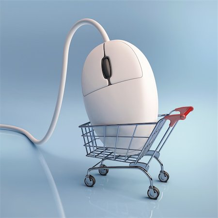 Mouse in the shopping cart. Concept of internet shopping. Stock Photo - Budget Royalty-Free & Subscription, Code: 400-06416680