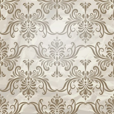 filigree - vector seamless vintage wallpaper pattern on crumpled paper texture, fully editable eps 10 file with clipping mask and pattern in swatch menu Stock Photo - Budget Royalty-Free & Subscription, Code: 400-06410731