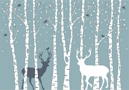 birch trees with birds and deer, vector background illustration Stock Photo - Budget Royalty-Free & Subscription, Code: 400-06412144
