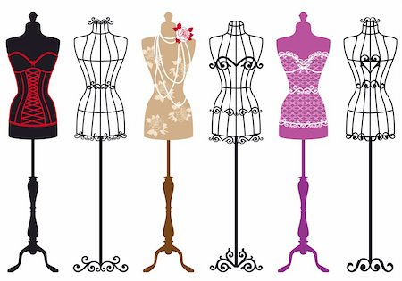 simsearch:400-04096935,k - set of stylish fashion dress forms, vector illustration Stock Photo - Budget Royalty-Free & Subscription, Code: 400-06413051