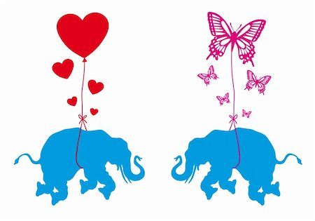 flying hearts clip art - blue elephant with red hearts and butterflies, vector illustration Stock Photo - Budget Royalty-Free & Subscription, Code: 400-06413319