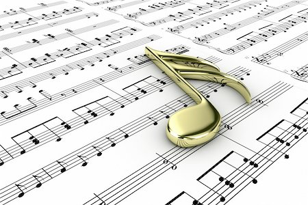 Gold musical note on a  background written notes Stock Photo - Budget Royalty-Free & Subscription, Code: 400-06413638