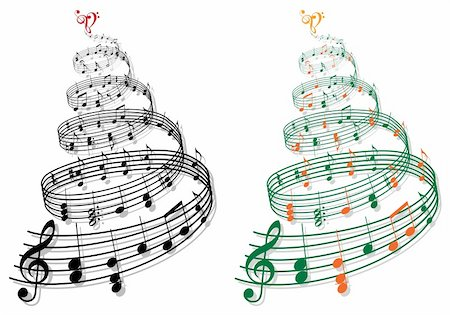 sheet music background - swirly tree with music notes, vector illustration Stock Photo - Budget Royalty-Free & Subscription, Code: 400-06424275