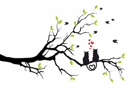 simsearch:400-04399778,k - cats in love on tree branch with birds, vector illustration Stock Photo - Budget Royalty-Free & Subscription, Code: 400-06425460