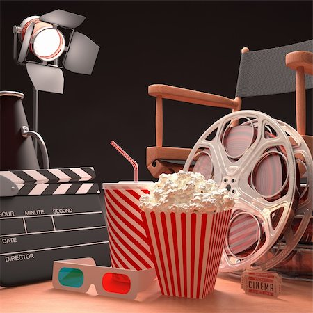 Objects of the film industry, the concept of cinema. Stock Photo - Budget Royalty-Free & Subscription, Code: 400-06425661