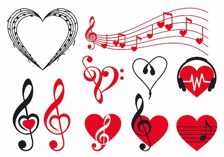 music hearts set, vector design elements Stock Photo - Budget Royalty-Free & Subscription, Code: 400-06426089