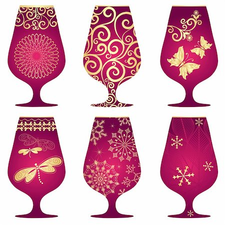 Set of purple Christmas glasses with gold decorative pattern on white (vector) Stock Photo - Budget Royalty-Free & Subscription, Code: 400-06426206