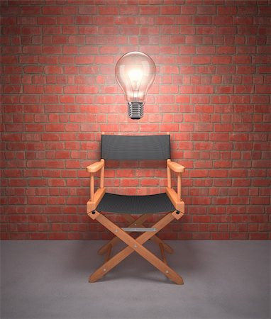Lamp lit up on the director's chair. Stock Photo - Budget Royalty-Free & Subscription, Code: 400-06427178