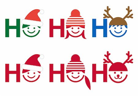 Ho ho ho Christmas card with people icon faces, vector Stock Photo - Budget Royalty-Free & Subscription, Code: 400-06427723
