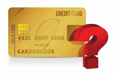 education loan - credit card and question mark illustration over white Stock Photo - Budget Royalty-Free & Subscription, Code: 400-06428015