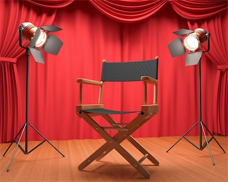 Director's chair on the stage illuminated by floodlights. Stock Photo - Budget Royalty-Free & Subscription, Code: 400-06428795