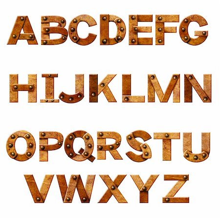 Alphabet - letters from rusty metal with rivets. Isolated over white Stock Photo - Budget Royalty-Free & Subscription, Code: 400-06429359