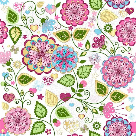 Seamless valentine pattern with colorful flowers and butterflies and hearts (vector) Stock Photo - Budget Royalty-Free & Subscription, Code: 400-06429589