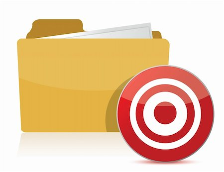 folder and target sign illustration over white Stock Photo - Budget Royalty-Free & Subscription, Code: 400-06429907