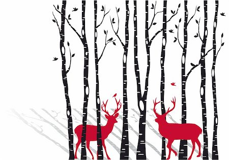 birch tree forest with red christmas deers, vector background Stock Photo - Budget Royalty-Free & Subscription, Code: 400-06421834