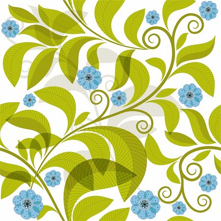 Vivid seamless pattern with green branch and blue flowers (vector EPS 10) Stock Photo - Budget Royalty-Free & Subscription, Code: 400-06422275