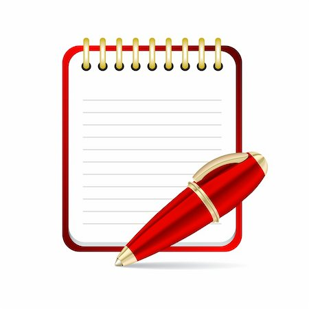 Red  Pen and notepad icon. Vector illustration Stock Photo - Budget Royalty-Free & Subscription, Code: 400-06422563