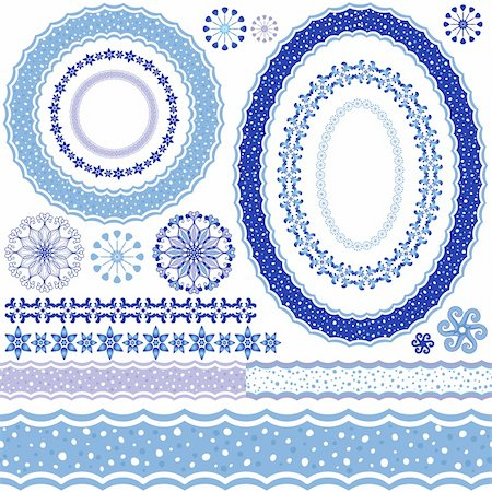 Set of blue Christmas frames and seamless pattern on a white (vector) Stock Photo - Budget Royalty-Free & Subscription, Code: 400-06423063