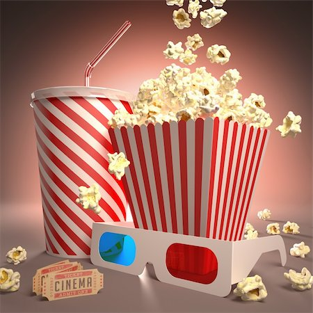 Popcorn, soda, 3D glasses and movie tickets, ready for the film. Stock Photo - Budget Royalty-Free & Subscription, Code: 400-06423480