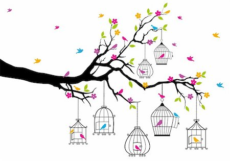 tree branch with birds and birdcages, vector illustration Stock Photo - Budget Royalty-Free & Subscription, Code: 400-06430137