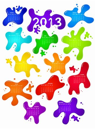 splat - Calendar for 2013 with colorful blobs on backdrop Stock Photo - Budget Royalty-Free & Subscription, Code: 400-06430381