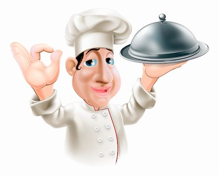 Illustration of a cartoon friendly happy chef with silver serving tray smiling and doing okay sign Stock Photo - Budget Royalty-Free & Subscription, Code: 400-06430607
