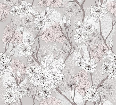 Seamless cherry blossom flowers pattern. Abstract floral pattern. Stock Photo - Budget Royalty-Free & Subscription, Code: 400-06454028