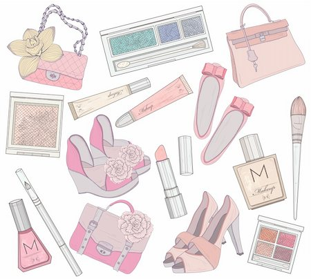 Women shoes, makeup and bags element set. Cosmetic product, footwear, purses and accessories vector illustration. Stock Photo - Budget Royalty-Free & Subscription, Code: 400-06454032