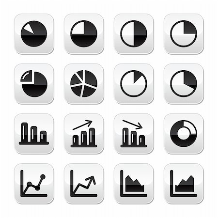 report icon - Business results presentation icons set on modern grey buttons Stock Photo - Budget Royalty-Free & Subscription, Code: 400-06454185