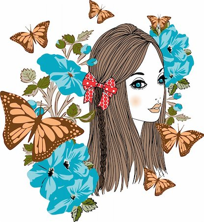 face woman beautiful clipart - Scalable vectorial image representing a butterfly girl, isolated on white. Stock Photo - Budget Royalty-Free & Subscription, Code: 400-06454270
