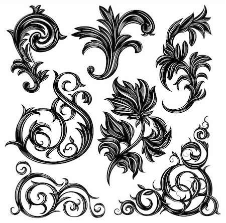 filigree - Set of floral design elements isolated on white Stock Photo - Budget Royalty-Free & Subscription, Code: 400-06454294