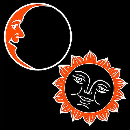 Vector illustration of Moon and Sun with faces Stock Photo - Budget Royalty-Free & Subscription, Code: 400-06454369