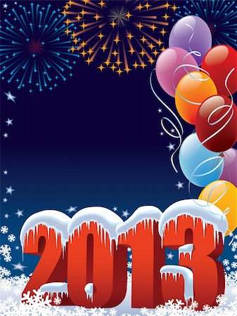 New Year 2013 decoration with copy space for your message Stock Photo - Budget Royalty-Free & Subscription, Code: 400-06455010