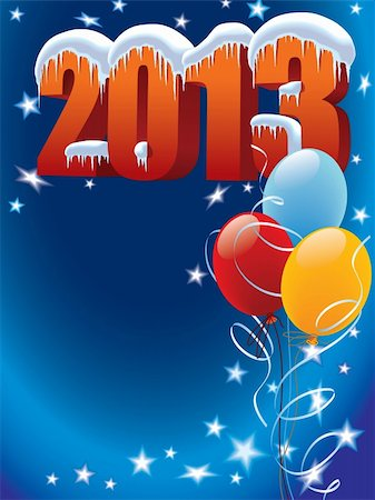 New Year decoration ready for posters and cards Stock Photo - Budget Royalty-Free & Subscription, Code: 400-06455027